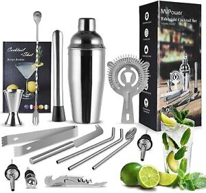 MVPower Cocktail Shaker Set | 15 Piece | 750 ml Cocktail Mixer | Stainless Steel