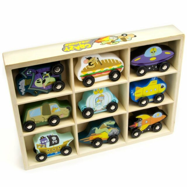 Crazy Racers Wooden Car Vehicle Set In Wood Storage Tray 9