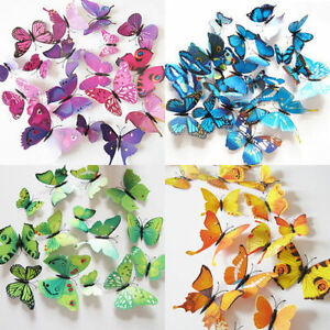 Image Is Loading 12PC 3D Butterfly Sticker Art Design Decal Wall  Part 38