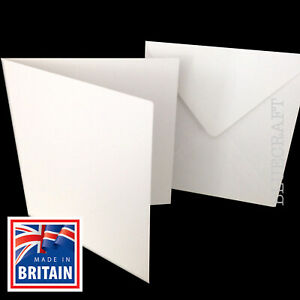 Set-di-12-x-quadrato-bianco-carta-250gsm-Bianchi-amp-Buste-100gsm-155-x-155mm