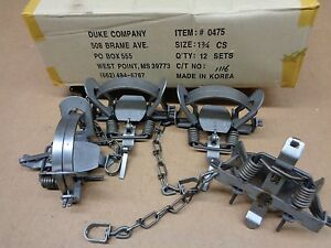 5 New Duke #1.75 leghold coilspring traps/Bobcat/Coyote/Coon/Fox trapping/1 3/4