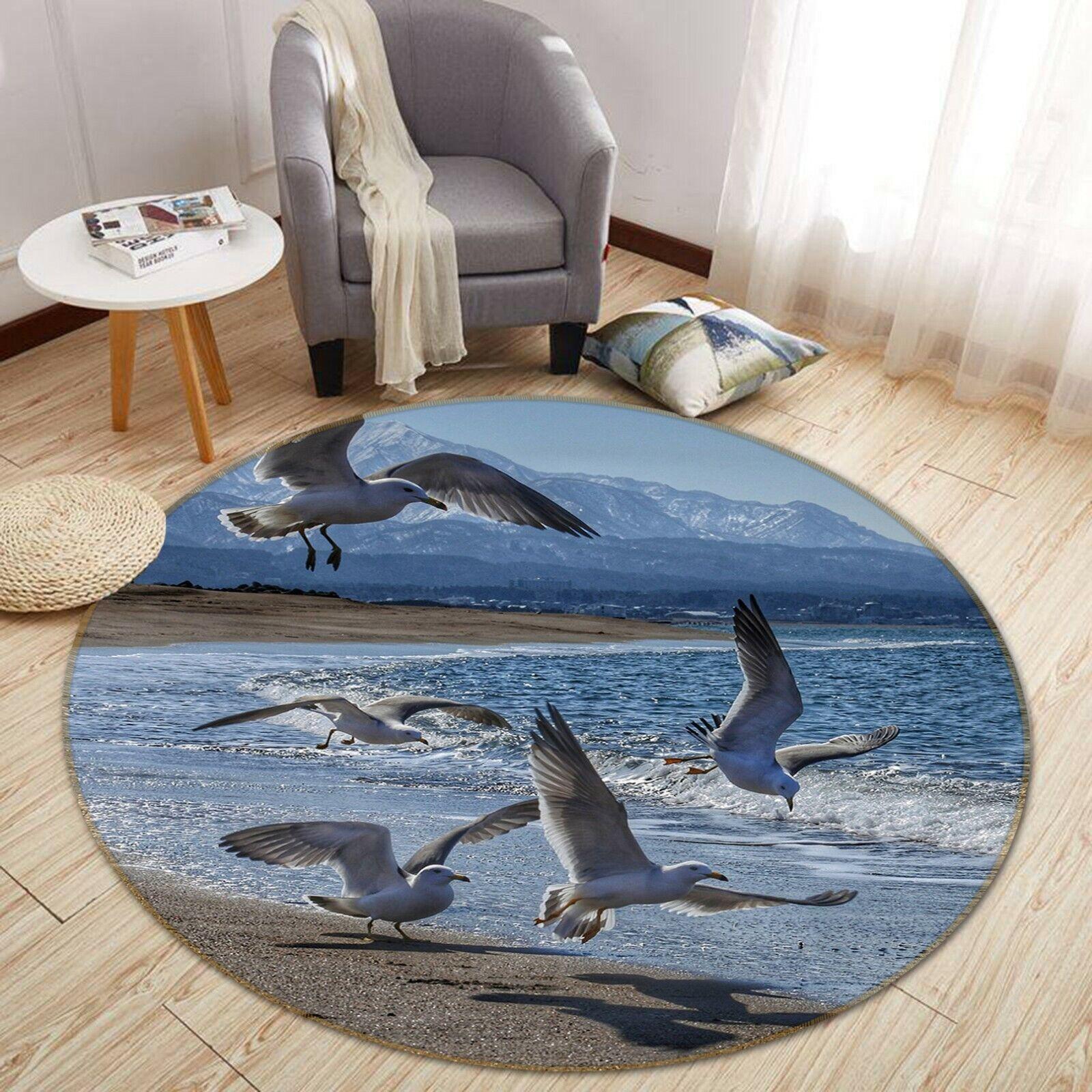 3D Seagull Group Seaside C62 Animal Non Slip Rug Mat Elegant Photo Carpet Zoe