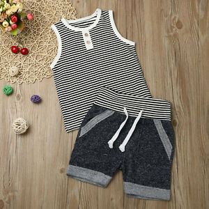 HGWXX7 Newborn Infant Baby Girls Striped Short Sleeve T-Shirt Tops+Suspenders Shorts Set Outfits