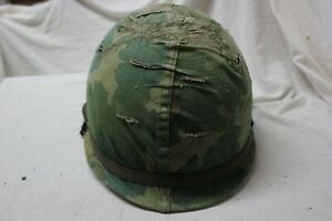 US-Military-Issue-Vietnam-Era-M1-Helmet-with-Liner-Mitchell-Pattern-Cover-A45
