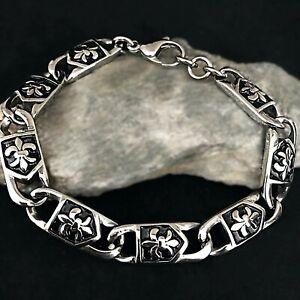 Heren-Edelstahl-Armband-Armkette-Kette-Maenner-Unisex-Damen-Fleur-de-lis-Silber
