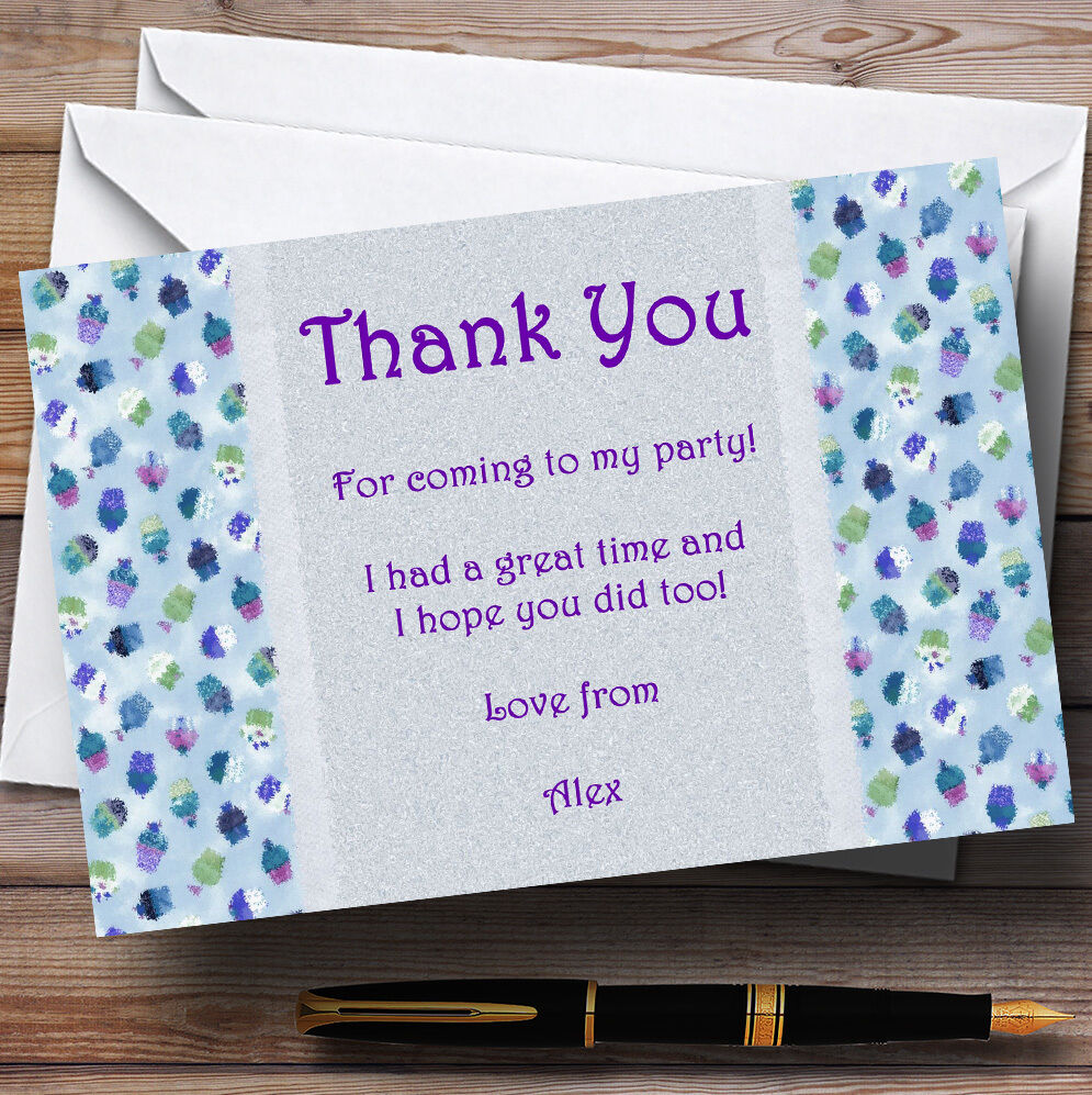 Blau lila Cupcake Vintage Tea Personalised Party Thank You Cards