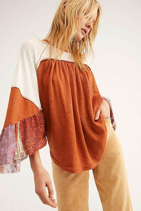 Free People NWT Größe Large Friday Fever Pattern Top Terra Cotta Combo NEW