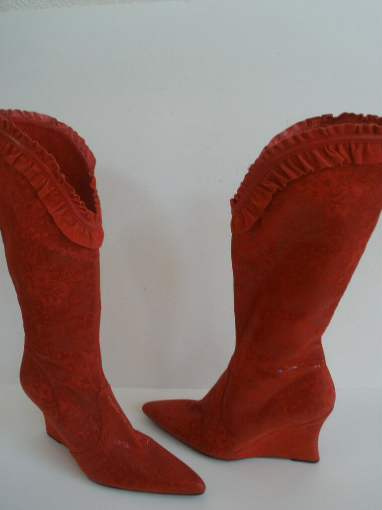 DIESEL red  leather KNEE HI BOOTS size US 8.5 NEW  RARE
