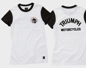 Triumph-Motorcycles-Surrey-Ladies-Tee-White-Jet-Black-T-Shirt-NEW-MTSS20053