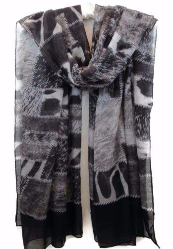 Womens Boho Patchwork Animal Print Black White Grey Pashmina Scarf Wrap New In