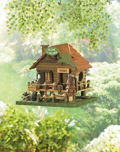 Adorable BLACK Bear Lodge Log Cabin Home Decor Shabby Country Garden Birdhouse