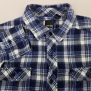 MICROS-Long-Sleeve-Flannel-Shirt-Men-039-s-Size-Small-Plaid-Checks-Blue