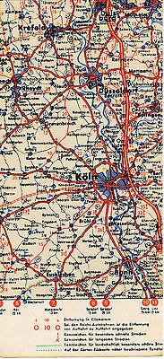 Duisburg Düsseldorf Köln Bonn Düren 1938 Kl. Orig Teil-autokarte Reichsautobahn