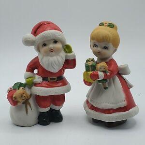 Vintage-Homco-Christmas-Boy-amp-Girl-Dressed-as-Santa-amp-Mrs-Claus-Figures-5401