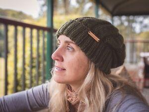 Olive Green Wool Knit Handmade Women Beanie New Hat Warm Winter Cap ... 89a867c4b86