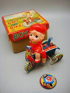 Vtg-Tin-Aoki-Japan-Boy-On-Bike-Celluloid-Wind-Up-Toy-Parts-Original-Box