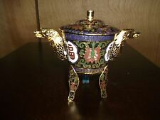 China Handwork Old Cloisonne Painting Flower Carving Dragon Incense Burner