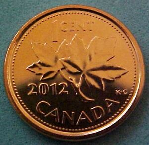TWO-2012-CANADIAN-PENNIES-1-MAGNETIC-amp-1-NON-MAGNETIC-BOTH-FROM-MINT-ROLLS