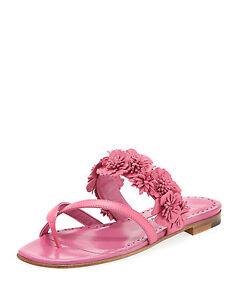 90eb83726b70  795 New Manolo Blahnik SUSAFIOR Floral Flowers Pink Flats Sandals ...