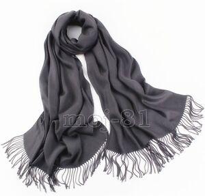 New-Winter-Men-039-s-Pure-Dark-Gray-Soft-Warm-Pashmina-100-Cashmere-Neck-Scarf