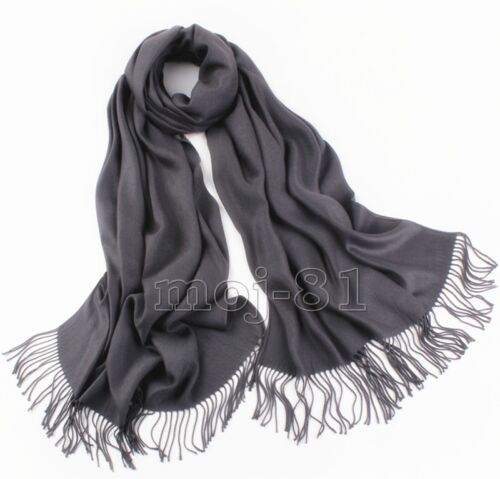 New Winter Men/'s Pure Dark Gray Soft Warm Pashmina 100/% Cashmere Neck Scarf
