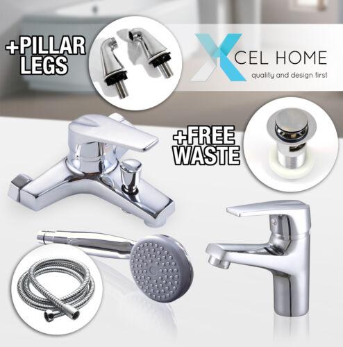 Chrome Bathroom Sink Basin Mixer Tap Set Brass Bath Shower Mono Bloc Modern