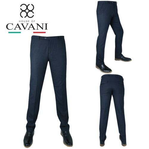 Da Uomo TRASMISSIONE Smart Formale Casual Tinta Unita Blu Scuro Pantaloni Regular Fit Pantaloni Tuta