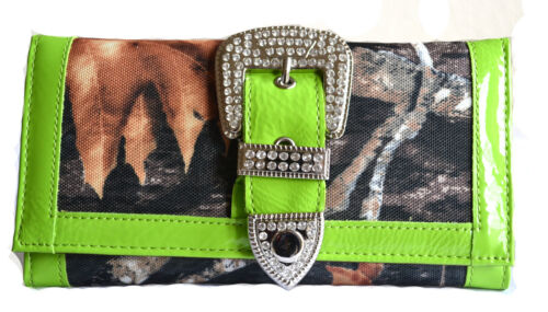 women rhinestone canvas belt buckle fashion camouflage trifold clutch wallet