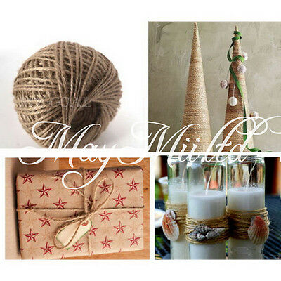 100M Jute Twine String Natural Craft Floral Wedding Gift Tags Wrap Craft Decor W