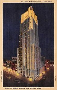 Akron-Ohio-First-National-Tower-Home-Of-Akron-National-Bank-1940-Postcard