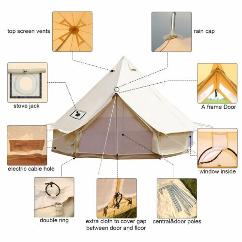 Cotton Canvas Glamping Bell Tent 5M 6M 7M Waterproof Camping Tent Yurts Awning