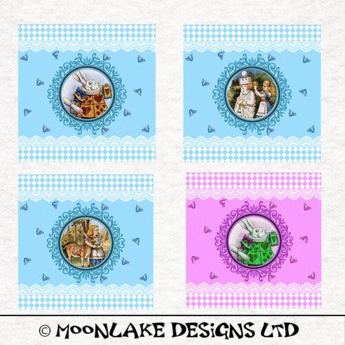 Los paneles de coser en miniatura 2x2 8x8 pulgadas pulgadas en un panel de tela Alicia País De Las Maravillas