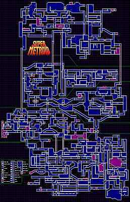 Super Metroid NES MAP -  Wall Poster 34 in x 22 in - FAST SHIPPING