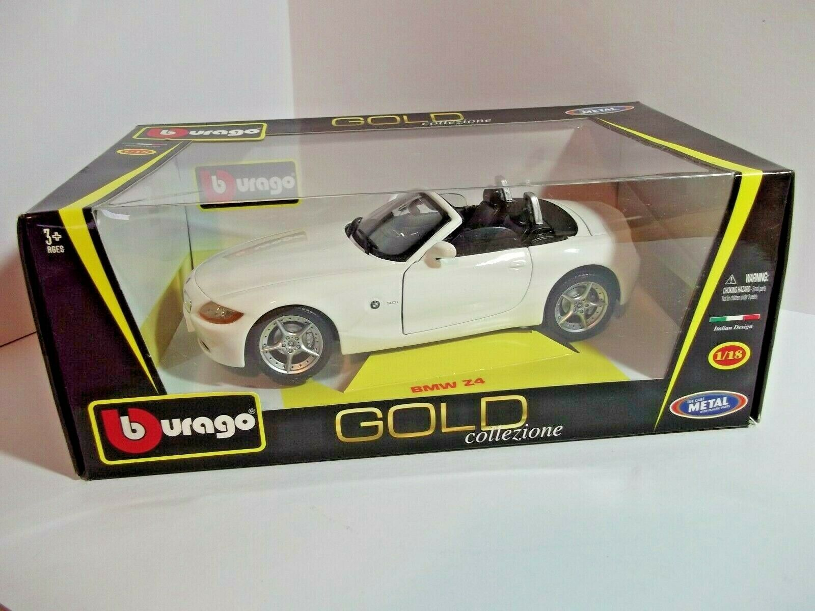 BBURAGO gold COLLECTION  1 18 BMW Z4 E85 Cabrio WHITE Roadster 2002-2008 1 18