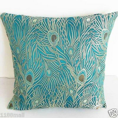 Cushion Cover Chinese Brocade Pillow Case Gorgeous Peacock Feather Motif cbs-1