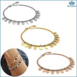 Bracciale da donna con ciondoli maglia charms cuore acciaio inox braccialetto a