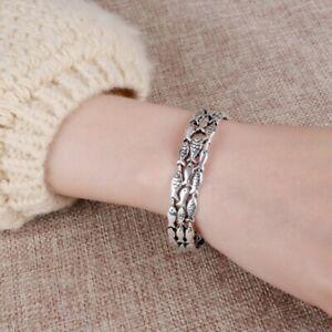 Damen-Armband-925-Sterling-Silber-Armreif-Vintage-Fisch-Einstellbar-Geschenk-Neu