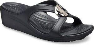 Ciabatte-Crocs-Sanrah-Liquid-Metallic-Wedge-Women-in-vari-colori-e-taglie