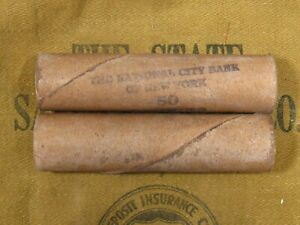 ONE-National-City-Bank-NY-Indian-Head-Penny-Roll-50-Cents-1859-1909