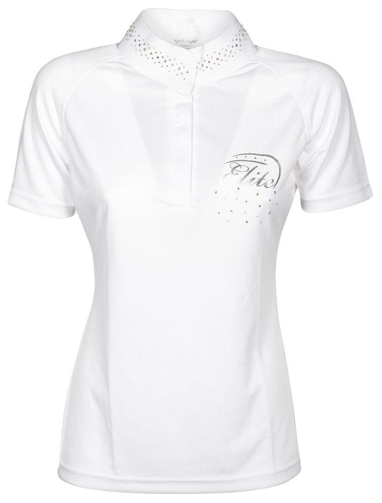 Harry's Horse Mädchen Turniershirt Turniershirt Turniershirt Elite Crystal kurzarm Stehkragen Strass weiss f2c779