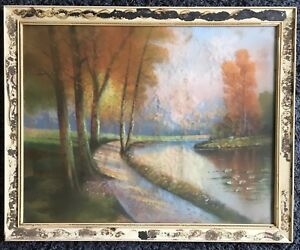 a h glatthaar 1879 1950 original pastel woods river path water