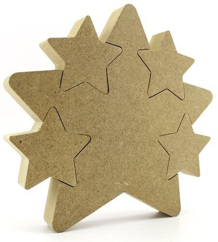 18mm mdf star dans star 15cm 4 verrouillage stars baignoir bébé cadeau vide cnc