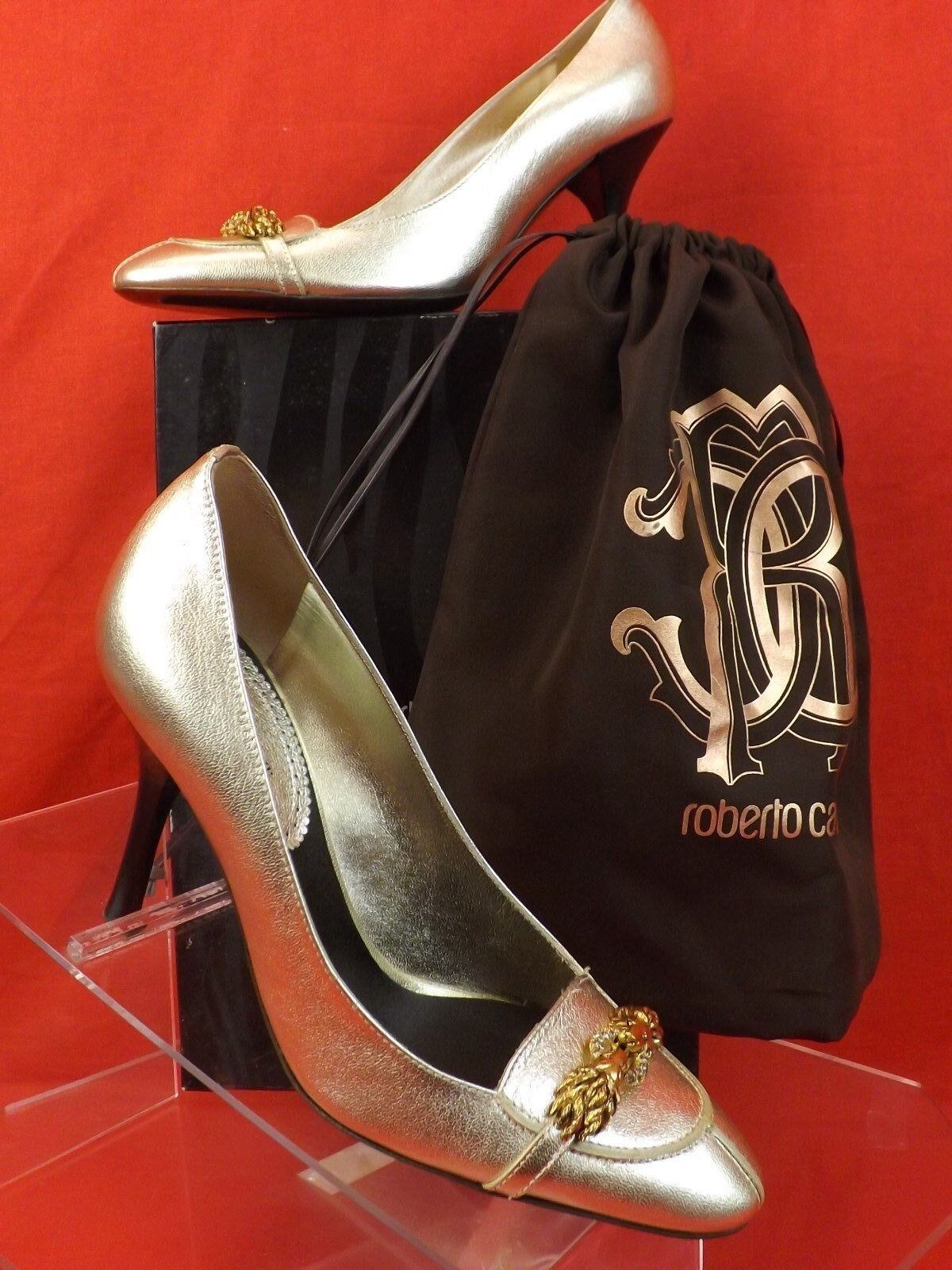 NIB ROBERTO CAVALLI gold LEATHER RODICK SAHARA JEWELED LIONS HEADS PUMPS 36  800