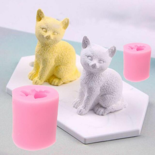 3D cute cat silicone soap candle mold fondant chocolate DIY baking mold