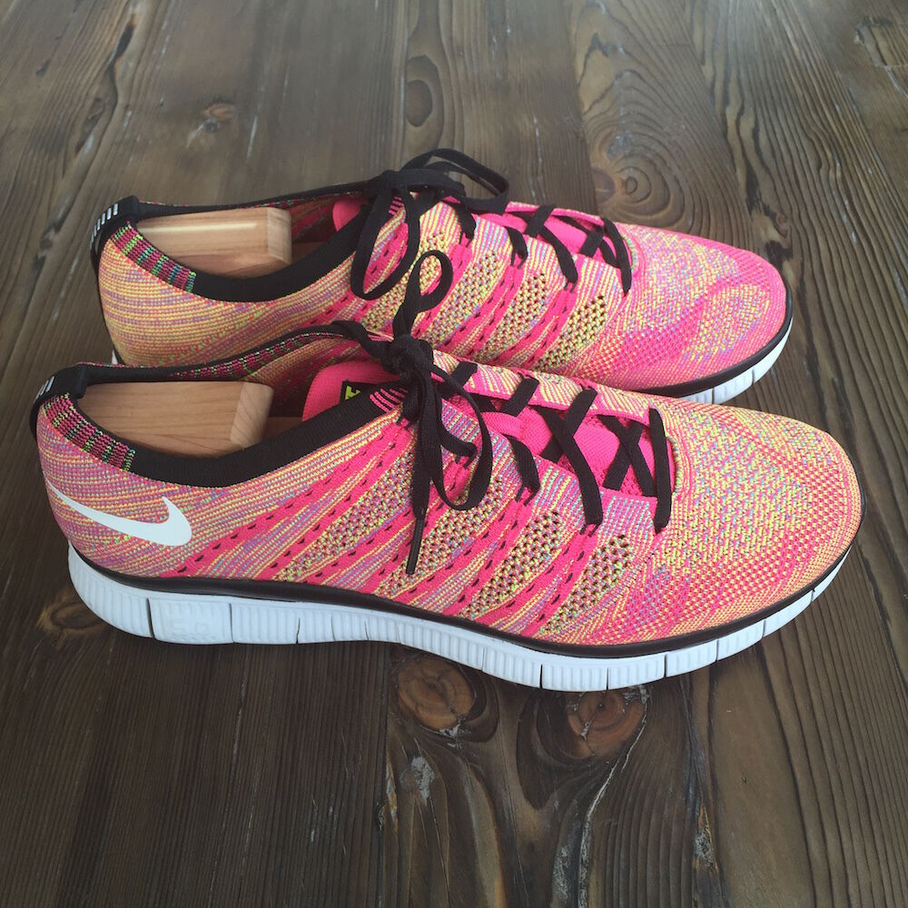 Gently Owned Nike Free Flyknit NSW Size 11.5 Pink Flash White-Volt 599459-600