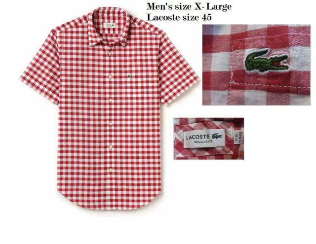 134e153142 Lacoste Mens XLarge Size 45 Red & White Short Sleeve Woven Button Down Shirt