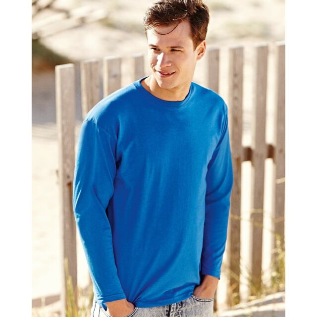 M Medium Royal Blue Fruit Of The Loom Cotton Crewneck Sweatshirt