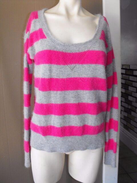 Moda International Size M Pink Gray Striped Scoop Neck Sweater FUZZY