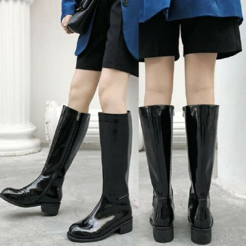Vintage Women Patent Leather Chunky Heel Mid Calf Riding Boots Combat Shoes Punk