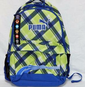 New PUMA Green Blue Sporty Backpack School Dual Compartment Comfort ... 24014da91175b